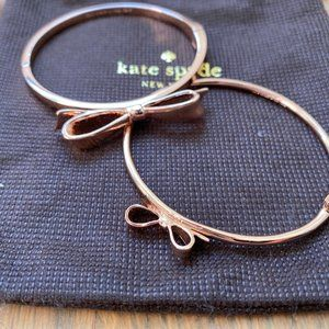 Two Kate Spade Rose Gold Bow Bangles